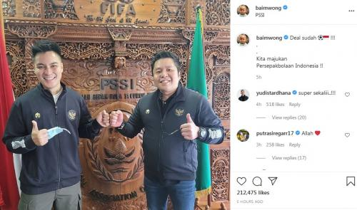 Baim Wong di Kantor PSSI (Foto: Instagram/@baimwong)