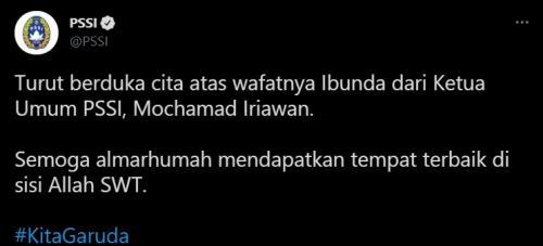 Ibunda Ketum PSSI Mochamad Iriawan meninggal dunia