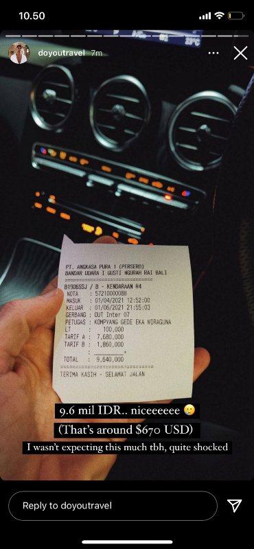 Viral bule bayar parkir Rp9,6 juta di bandara. (Foto: Twitter @bukanankunkoriya)