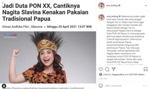 Penunjukkan Nagita Slavina sebagai ikon PON Papua kini jadi kontroversi
