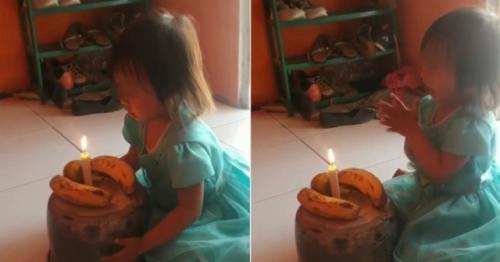 Viral gadis kecil rayakan ulang tahun dengan buah pisang. (Foto: Instagram @warung_jurnalis/World of Buzz)