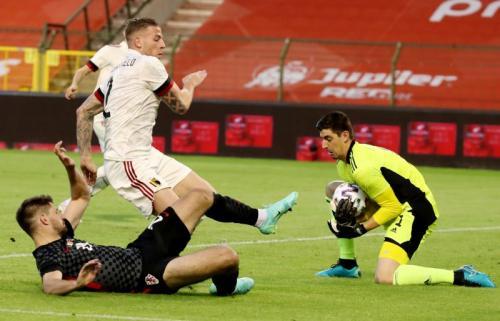 Suasana laga Belgia vs Kroasia