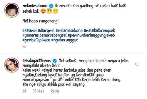 Krisdayanti komentari unggahan Melanie Subono.