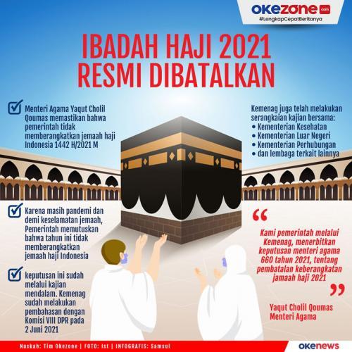 Info grafis pembatalan pemberangkatan calon jamaah haji 2021 Indonesia. (Foto: Okezone)