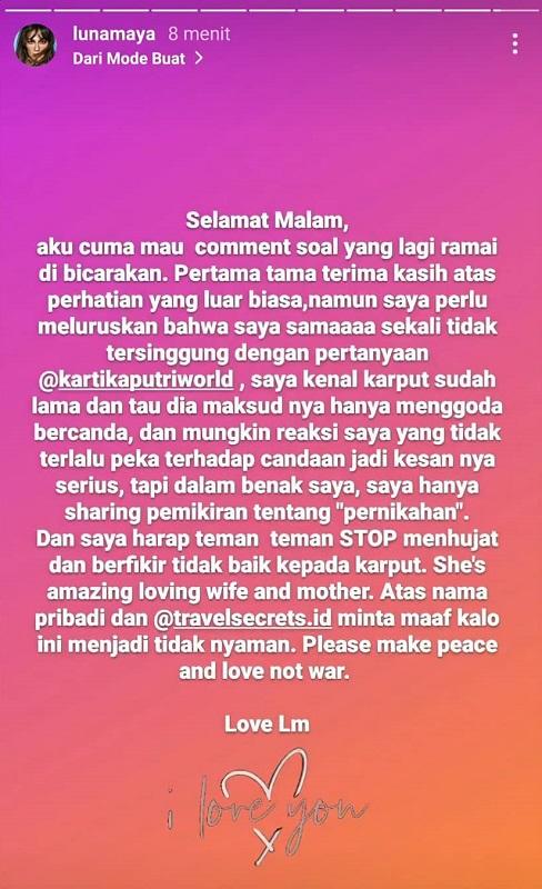 Luna Maya tanggapi kontroversi soal Kartika Putri. (Foto: Instagram/@lunamaya)