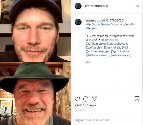 Chris Pratt dan Arnold Schwarzenegger. (Foto: Instagram/@prattprattpratt)
