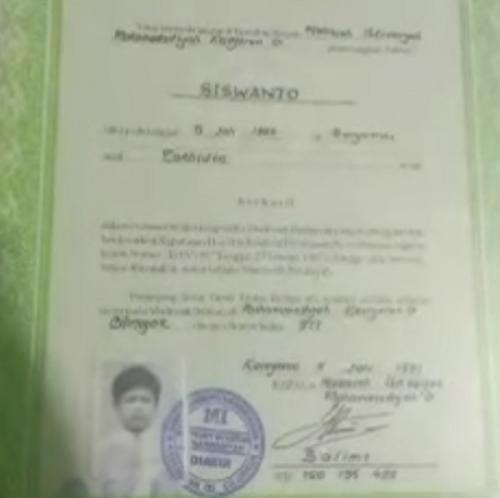 Ijazah SD Siboen