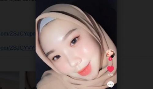 Viral perempuan non-Muslim cantik berjilbab. (Foto: TikTok @bellahwa)