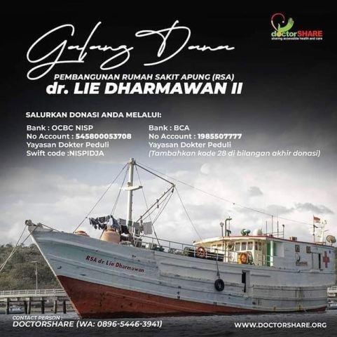 Donasi Kapal Rumah Sakit Apung dr Lie Dharmawan. (Foto: Instagram @nyoman_nuarta)