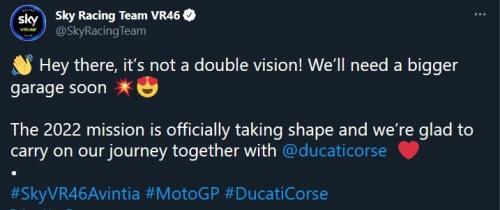 Aramco Racing Team VR46 (Foto: Twitter/@SkyRacingTeam)