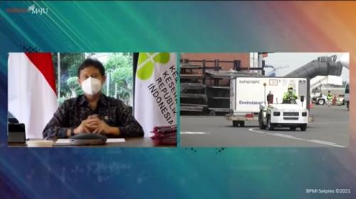 Menkes Budi Gunadi Sadikin sambut kedatangan vaksin covid-19 tahap ke-18. (Foto: YouTube Sekretariat Presiden)
