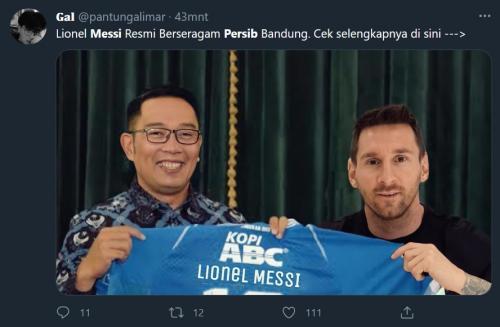 Lionel Messi gabung Persib (Foto: Twitter/@pantungalimar)