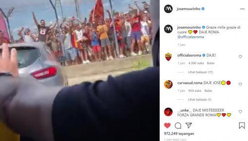 Momen Mourinho menyapa fans AS Roma
