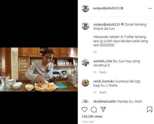 Susi Pudjiastuti membagikan resep dan cara membuat donat kentang empuk. (Foto: Instagram @susipudjiastuti115)