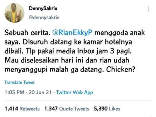 Akun Twitter yang menuding Rian D'Masiv melakukan pelecehan seksual. (Foto: Twitter/@dennysakrie)
