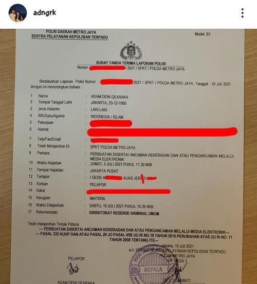 Adam Deni minta Jerinx untuk kooperatif dalam menjalankan pemeriksaan. (Foto: Instagram/@adngrk)