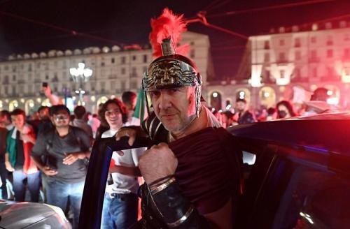 Perayaan juara Italia di Kota Turin