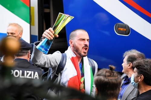 Timnas Italia tiba di Roma