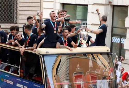 Parade perayaan Timnas Italia usai juarai Piaal Eropa 2020