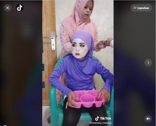 Viral wanita salah makeup terlalu putih. (Foto: TikTok @kharieza_makeup)