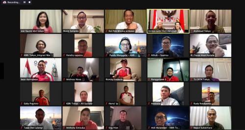 Tim bulu tangkis Indonesia berdialog dengan Dubes RI (Foto: KBRI Tokyo)