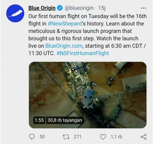 Persiapan Blue Origin Terbang ke Angkasa
