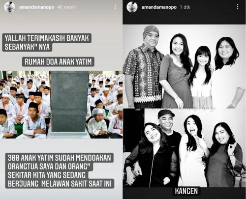 Amanda Manopo berterima kasih atas doa 300 anak yatim untuk kedua orangtuanya. (Foto: Instagram/@amandamanopo)