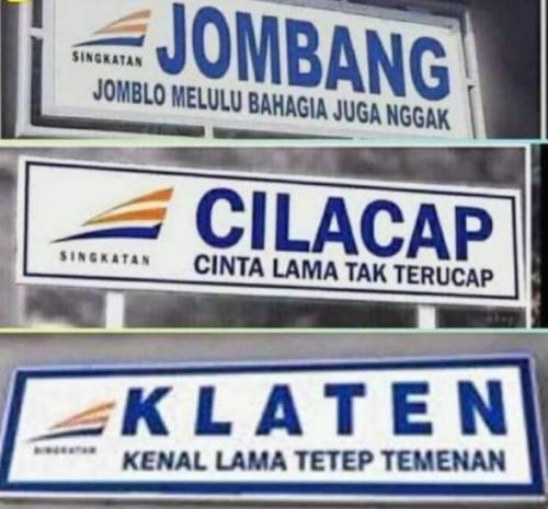 Singkatan Nyeleneh Nama Kota