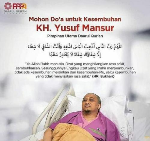 Ustadz Yusuf Mansur dirawat di rumah sakit. (Foto: Instagram @m_nur_maulana)