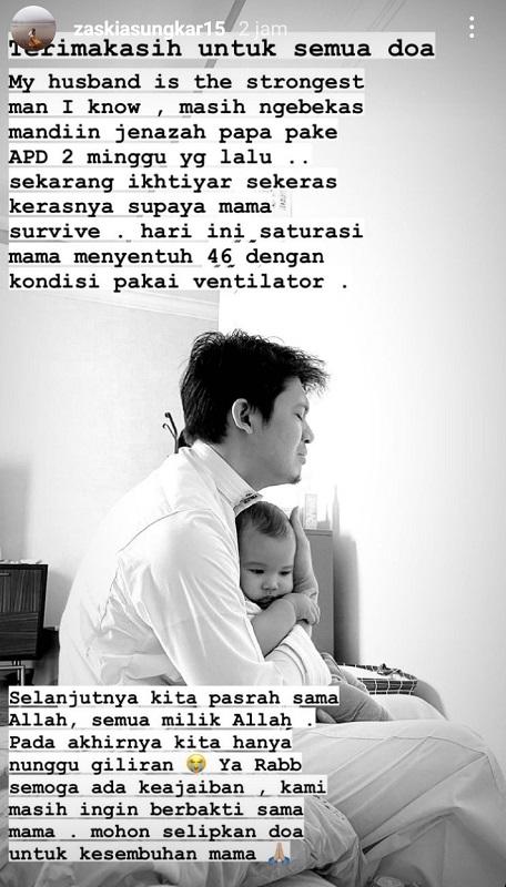 Zaskia Sungkar berharap keajaiban untuk mertuanya yang sedang berjuang melawan COVID-19. (Foto: Instagram/@zaskiasungkar15)
