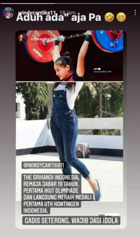 Windy Cantika Aisah membalas instagram storie Ridwan Kamil