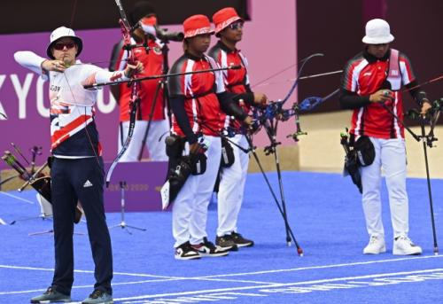 Alviyanto Bagas saat tampil di beregu putra Olimpiade Tokyo 2020