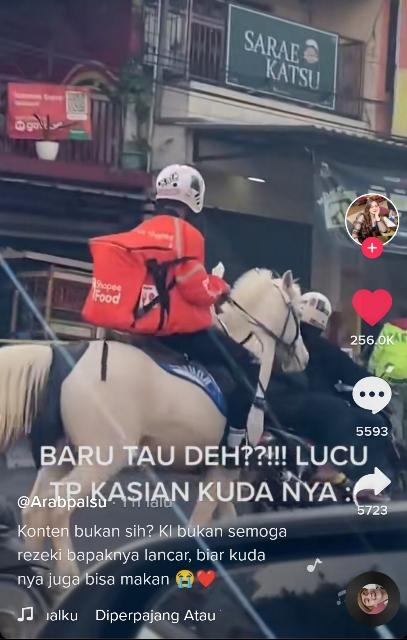 Viral abang ojol anter pesanan makanan naik kuda. (Foto: TikTok @wisellyshailaa)