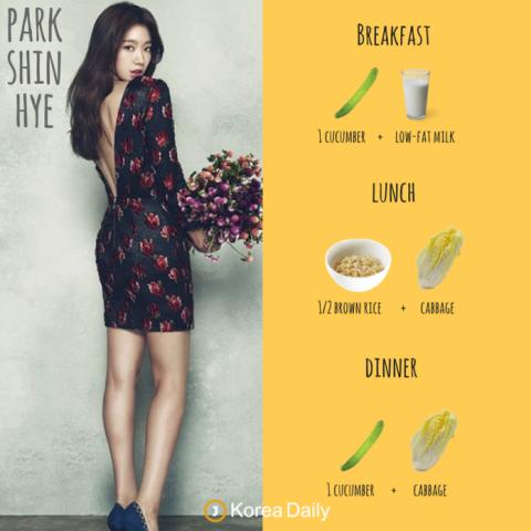 Menu diet artis Korea Park Shin Hye. (Foto: Koreadailyus)