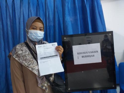 Sentra Vaksinasi MNC Peduli bersama MNC Vision Networks menyediakan ruangan khusus wanita berhijab. (Foto: Nandha Aprilia/MPI)