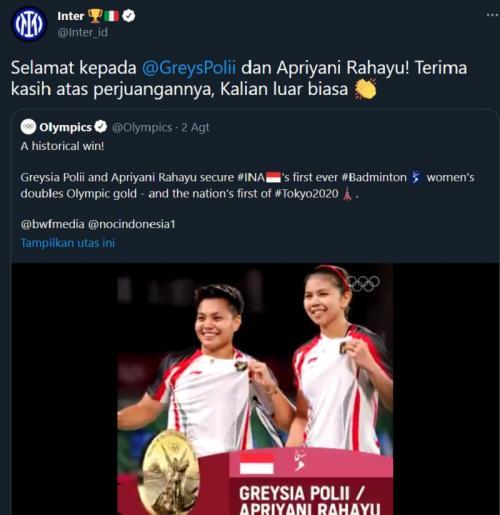 Ucapan selamat Inter Milan untuk Greysia Polii/Apriyani Rahayu (Foto: Twitter/@Inter_id)
