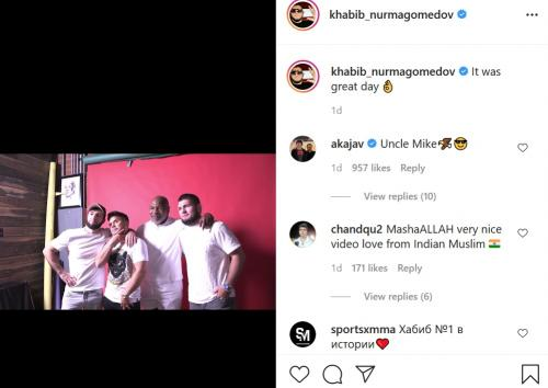 Khabib Nurmadomedov datang ke podcast Mike Tyson (Foto: Instagram/@khabib_nurmagomedov)