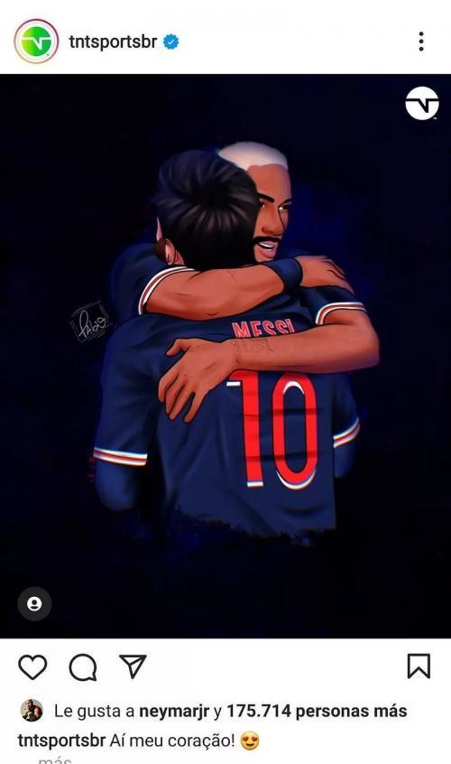 Neymar bereaksi dalam unggahan foto Messi