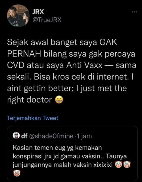 Jerinx bantah antivaksin. (Foto: Twitter/@TrueJRX)