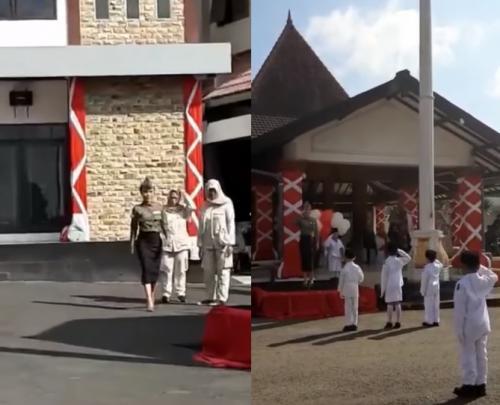 Yuni Shara kenang upacara bendera di PAUD Cahaya Permata Abadi. (Foto: Instagram/@yunishara36)