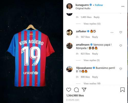 Sergio Aguero pilih nomor punggung 19 ketimbang 10 warisan Lionel Messi (Foto: Instagram/@kunaguero)