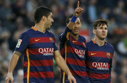 Luis Suarez,, Neymar Jr, dan Lionel Messi (Foto: Reuters)