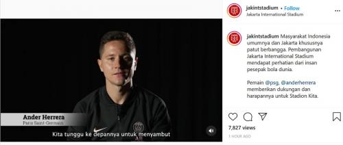 Ander Herrera sambut antusias pembangunan Jakarta International Stadium (Instagram/@jakintstadium)