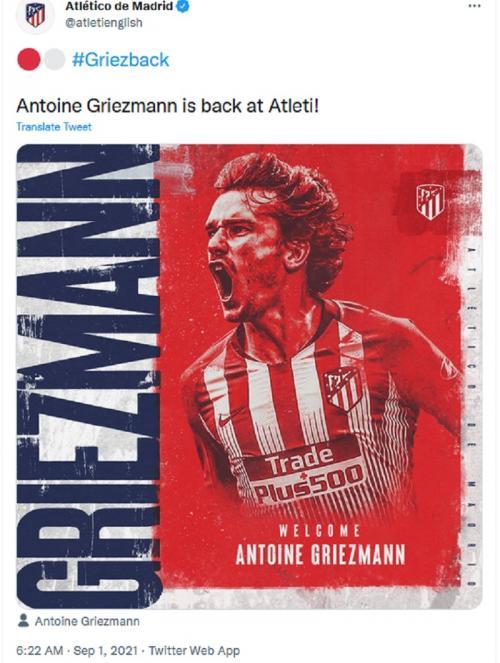 Griezmann kembali ke Atletico