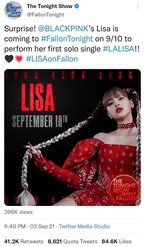 Lisa BLACKPINK bakal tampil di The Tonight Show Starring Jimmy Fallon.