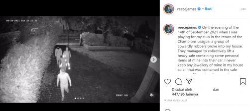 Momen rumah Reece James dibobol maling. (Foto: Instagram/reecejames)