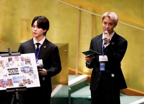 BTS tampil di Sidang Umum PBB ke-76 di New York, Amerika Serikat, pada 20 September 2021. (Foto: Reuters)