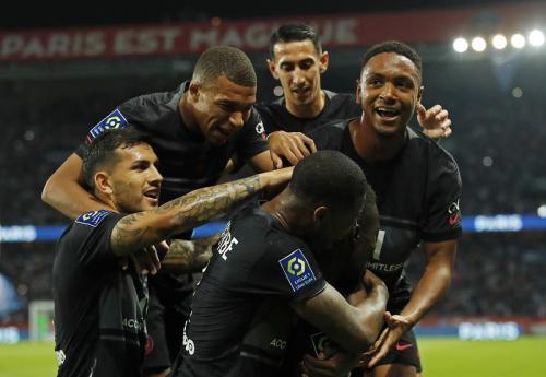 Laga PSG vs Montpellier di Liga Prancis 2021-2022. Foto: Reuters