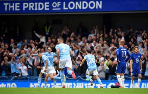 Selebrasi Gabriel Jesus usai cetak gol di laga Chelea vs Man City