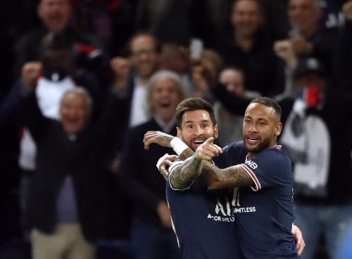 Lionel Messi di laga PSG vs Manchester City pada Liga Champions 2021-2022. Foto: Reuters
